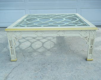 Vintage MCM Tomlinson Chinese Frework Coffee Table Glass Top