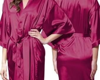 Wine Red Satin Kimono Robe - Glitter Monogram Personalization - Bridal Party Bridesmaid Robe