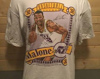 Vintage 1990's Utah Jazz Karl Malone Nutmeg  T-Shirt Made in USA