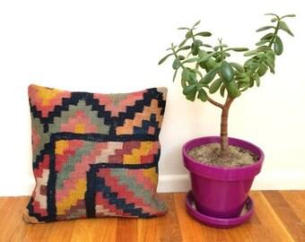 SALE Vintage kilim pillow 16x16