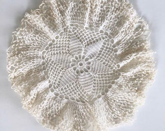 Vintage Crocheted Doily, Handmade, Antique White, Ruffled Edges, 1950s, 6 Point Star in Center, 9 Inch Round Lace Doily, Gift for Her