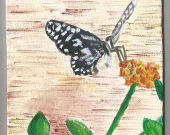 Butterfly on Flower small canvas board painting