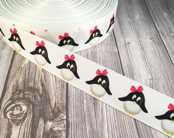 Penquin ribbon - Penquin bow ribbon - Hair bow ribbon - Grosgrain ribbon - Do it yourself - Craft supply - Hair bow supplies - Make your own