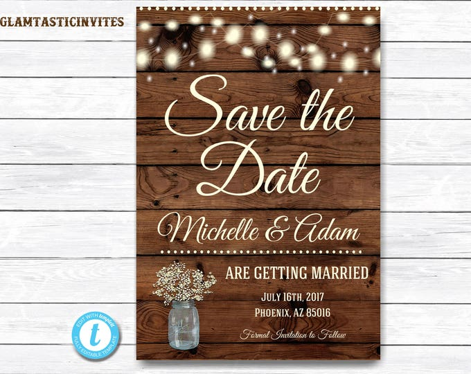 Rustic Save-The-Dates, Printable Rustic Save the Date Postcard, Save the Date, Rustic Wedding, Postcard, Printable Save the Date Template