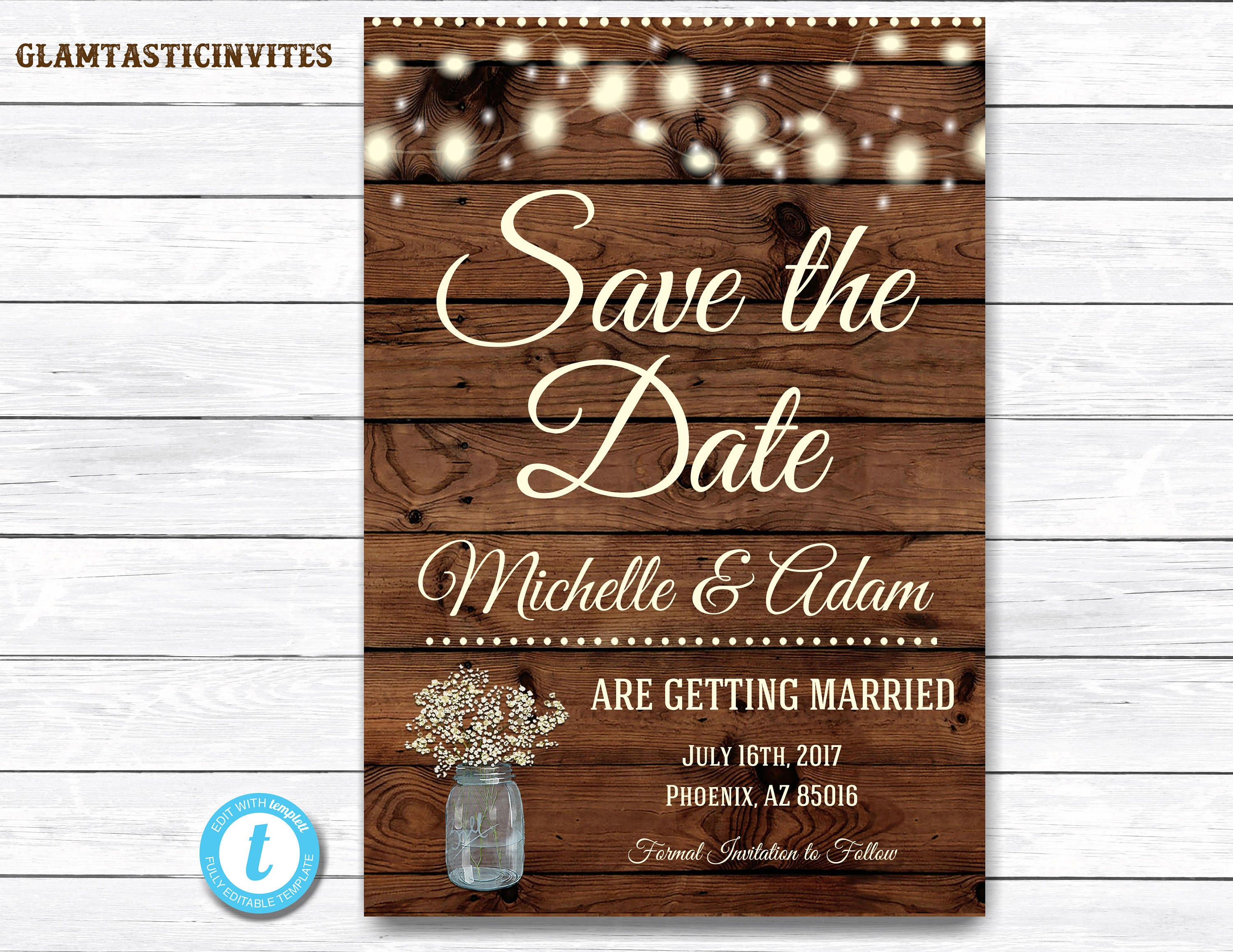 Rustic save the dates printable rustic save the date postcard save the date rustic wedding for Rustic save the date templates free