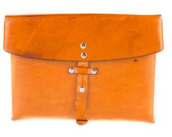 Vintage 1978 Swiss Army Leather Messenger Bag, Millitary Shoulder Bag