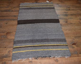 Hand Woven Romney Wool Roving Rug