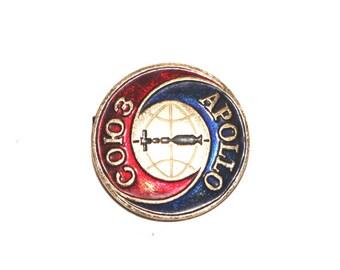 Apollo space badge Cosmos Space pinback button apollo-soyuz lapel pin badge russian soviet pins vintage space pin spaceship Cosmos badges