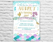 Printable Under the sea Mermaid birthday party invitations - 1st birthday invites for a girl  tail pink teal gold (2017-6)