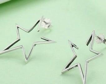 Sterling Silver Star Stud Earrings for Women