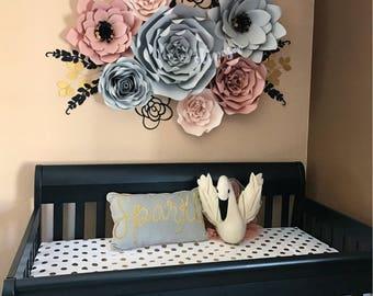 7 pc Paper Flowers, Nursery, Decor, Home Decor, customize your colors
