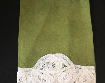 Vintage Green and White Handkerchief