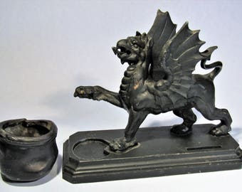 Antique Art Metal Griffin Smoking Set Cigarette and Matchbook Holder with Ashtray Vintage Winged Dragon Bookend