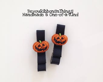Glitter Pumpkin | Hair Clips for Girls | Toddler Barrette | Kids Hair Accessories | Black Grosgrain Ribbon | No Slip Grip | Halloween