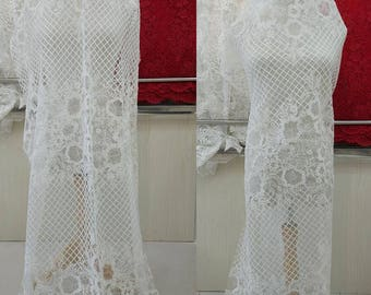 Ivory Embroidery Lace Fabric ,Cording Wedding Lace Fabric ,Mesh Bridal Lace Fabric
