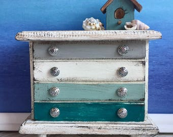 Miniature beach dresser, dollhouse bedroom furniture, chest of drawers