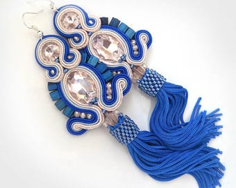Blue tassel earrings, long fringe gift, blue soutache earrings tassel, boho dangle earrings, long tassel earrings, boho gift girlfriend