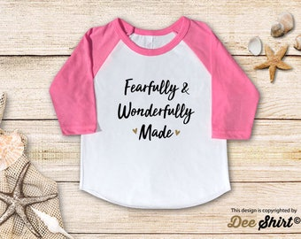 Fearfully Wonderfully Made; Christian Shirt; Cute Baptism Tee; Love Jesus TShirt; Sunday School Kids Church Outfit, Cool Christmas Gift Idea