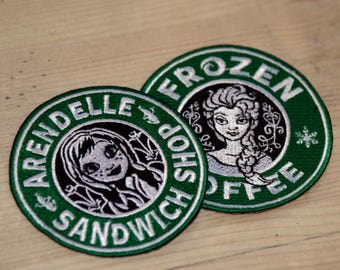 DISCOUNT Anna Elsa Starbucks Coffee inspired patch, Disney patch, princess patch, Frozen patch, Elsa patch, Anna patch, Sew on, Iron On
