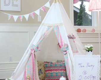 Alice Teepee Package with Poles Floor Flags Lights,Kids Teepee, Play Tent, Childrens Teepee,  Tipi, Playhouse, girl teepee,Kids Room Decor
