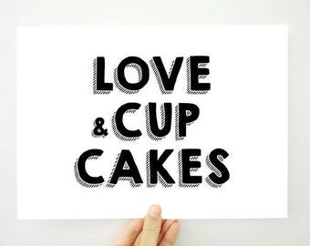Love Printable Love and Cupcakes, Love Sign, Love Poster, Kitchen Wall Art, Cupcake Art, Kitchen Decor, Girl Room Decor, Love Cake, PDF JPG