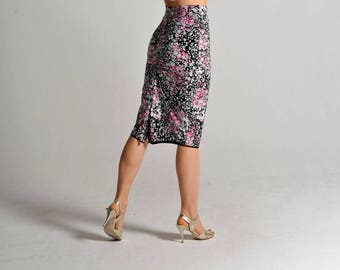 CLARA pink flowers slit skirt - size XS only
