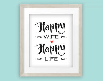 Happy wife, happy life popular quote, marriage advice text wall art print in black and white with red heart, INSTANT DOWNLOAD
