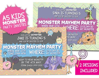 Monster Mayhem Printable Kids/ Children's MONSTER PARTY Invitations 2 x A5 Designs-Personalised for you