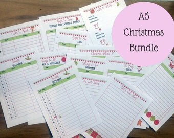 A5 Printed Christmas Planner Bundle | Printed Planner Inserts | A5 Christmas Inserts | for large Kikki K or Filofax | planner refill | gift