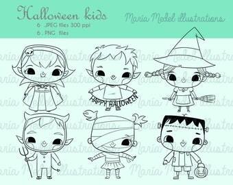 HALLOWEEN niños paquete digitales sellos, ilustraciones de arte de línea para scrapbooking, tarjeta haciendo, adulto y niños para colorear, manualidades.