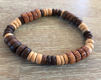 Mixed Palm & Coconut Wood Bracelet