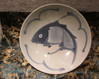 "Chinese Blue Cobalt Koi Fish 8 3/4 "" Serving Bowl Center Piece Hand Painted Details Vtg Chinese Markings"
