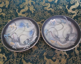 Japanese Hand Painted Raised Dragon Ware Porcelain Saucers Vt Japan Mark