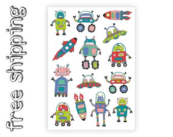 "Temporary tattoos ""Space adventure"". Kids body stickers set with UFO, rocket, robot, spaceship and more. Party bag supply. TA050"