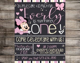 Baby Minnie Mouse Birthday Digital Invitation, Minnie Mouse Birthday Invitation, Digital Invitation- Printable Invitation