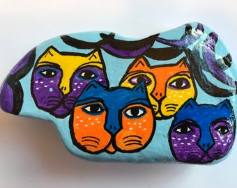 Abstract Colorful Cats Hand Painted Rock Stone