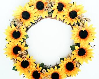 Fall Wreath, Sunflower, Wreath, Autumn Wreath, Front Door Wreath, Outdoor Wreath, Sunflower Wreath, Indoor Wreath, Fall Decorations, 15 inch