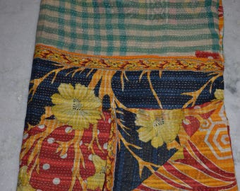 Indian Handmade Kantha Quilts Vintage Throw Bedcover Bedspread Gudri 2156 BY artisanofrajasthan