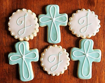 One Dozen - Communion - Baptism - Confirmation - Christening - Religious Cookies - Baptism Party Favor - Crosses and Initials