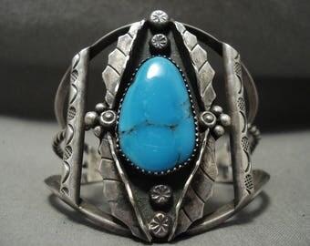Huge Vintage Navajo Blue Carico Lake Turquoise Silver Leaf Bracelet