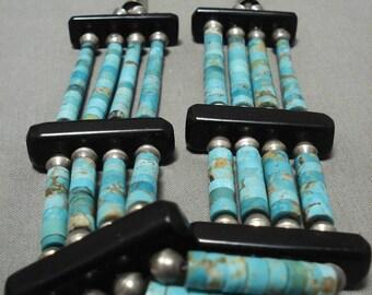 Museum Vintage Navajo 'Blue Gem Turquoise Heishi' Silver Necklace Old