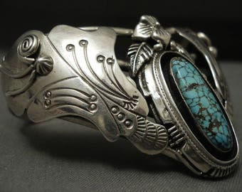 Intense And Highly Detailed Vintage Navajo #8 Turquoise Silver Sheild Bracelet