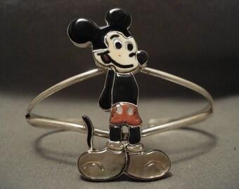 Stunning Natural Stones Zuni Mickey Silver Bracelet