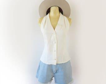 Vintage 90's Crisp White Boho Cowgirl Western Rodeo Top Size medium