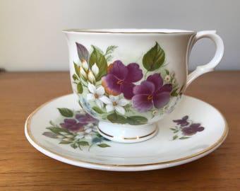 Sadler Wellington Tea Cup and Saucer, Vintage Bone China, Purple Pansy Teacup and Saucer, Floral English China