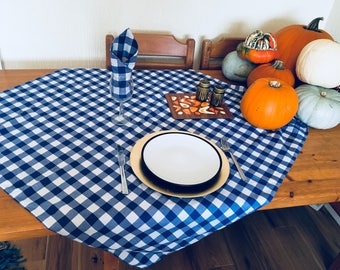 Retro Polycotton Blue And White Gingham Tablecloths