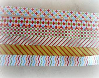 6 * 90 cm of Ribbon grosgrain printed multicolor 22 mm
