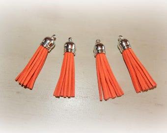 4 58 * 12 mm Orange suede tassels