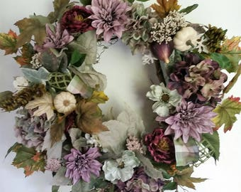 Fall Front Door Wreath, Lavender Autumn Wreath, Lavender Harvest Wreath, Rustic Fall Wreath, Outdoor Wreath, Autumn Door Wreath, Wreaths