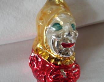 vintage mercury glass clown punch jester ornament west germany